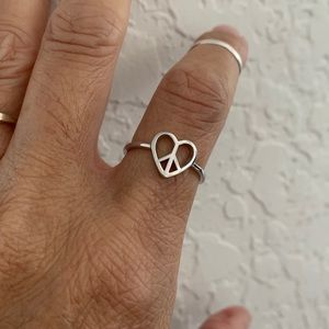 Jewelry - ❤️NEW ARRIVAL☮️ Sterling Silver Heart Peace Ring